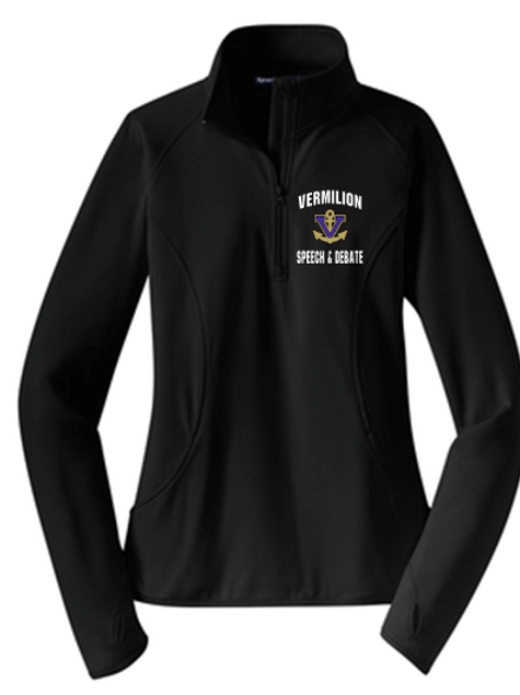 Ladies Embroidered Midweight Stretch 1/4 zip