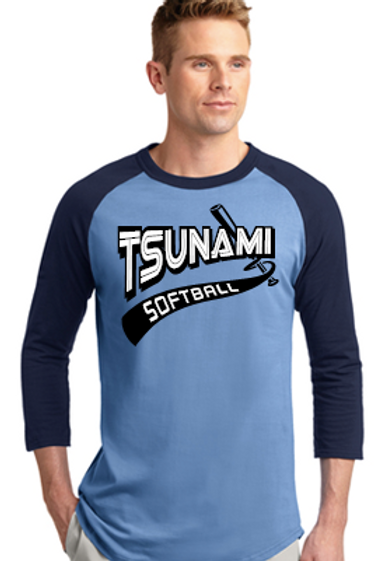 Carolina Blue and Navy Unisex Baseball Shirt