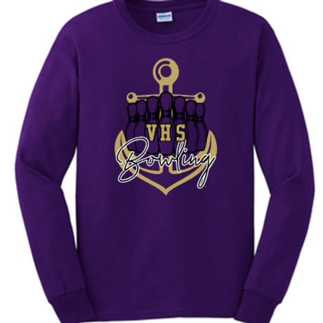 Unisex Long Sleeve Bowling T Shirt Anchor logo
