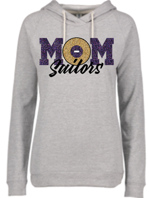 Lightweight Ladies Hoodie Wrestling Mom logo