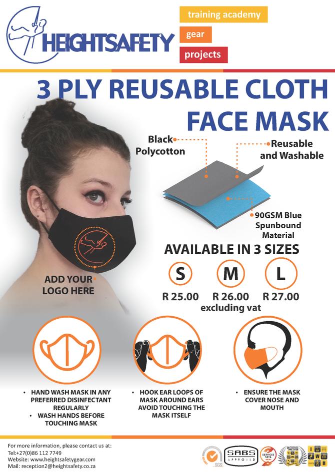 3 Ply Reusable Cloth Face Mask