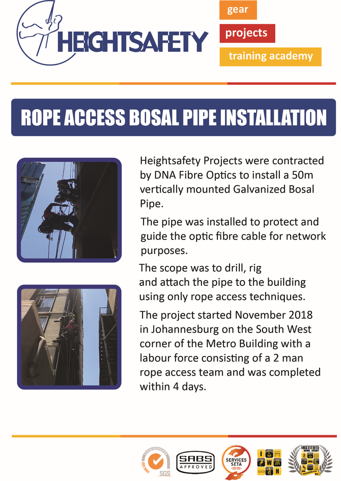 ROPE ACCESS BOSAL PIPE INSTALLATION