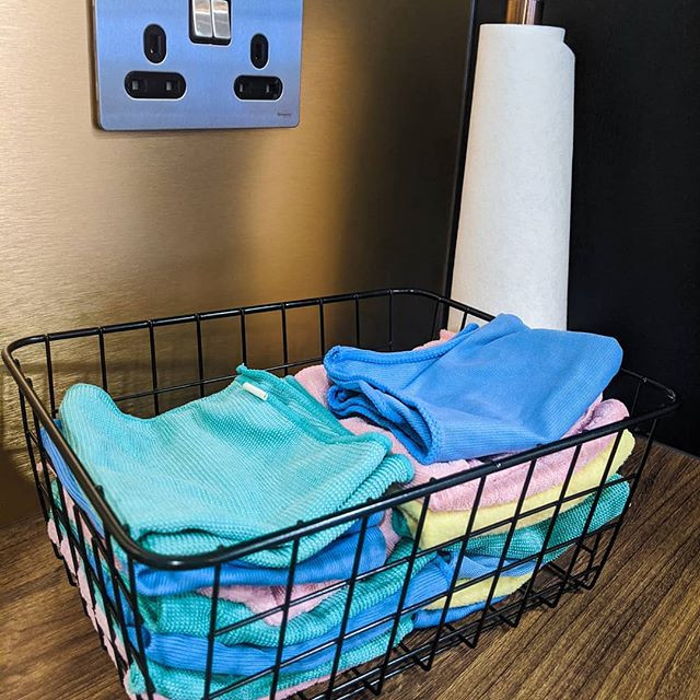 Basket of multicoloured cloth wipes