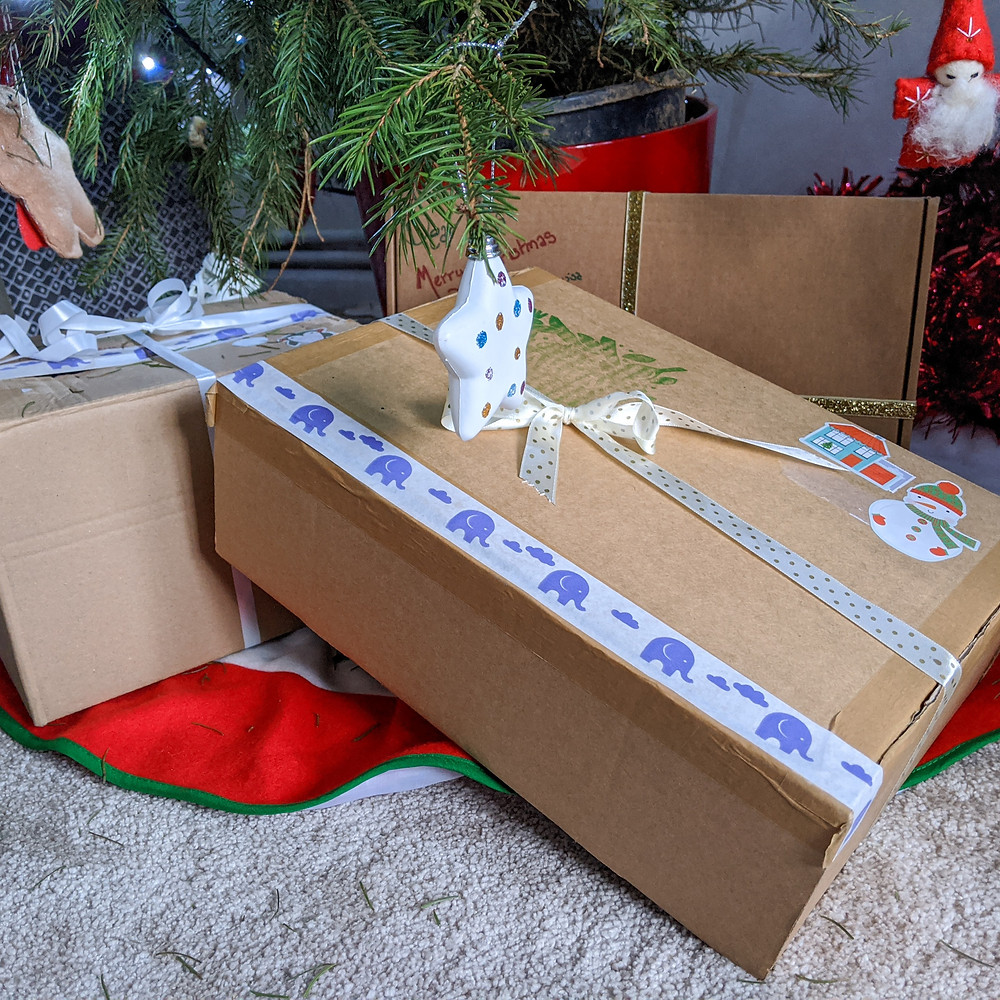 Decorated boxes for eco friendly Christmas gifts