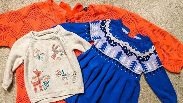 colourful clothing bought from a charity shop