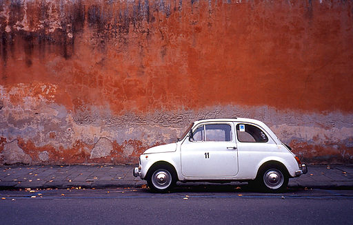 Classic Automobile Red Wall Pisa Italy