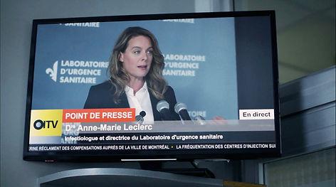 Datsit Sphère / Épidémie I / Logos Labo et OITV / Habillage télé+menu déroulant / Fond de scène