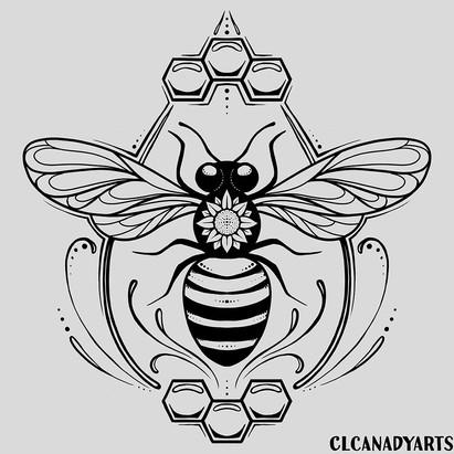 bee shirt black  clcanadyarts