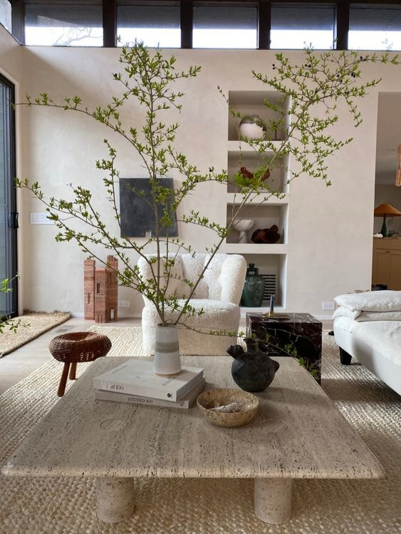 interior design trends 2021, Modern neutral living room. Eyes Swoon