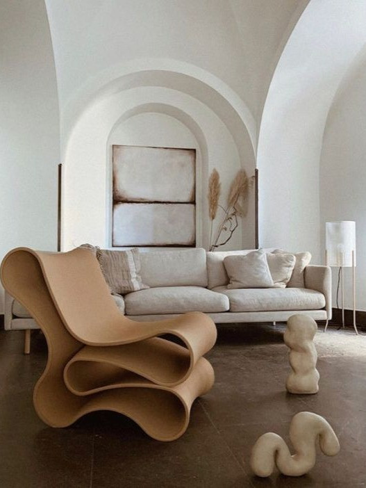 interior design trends 2021, curved chair, ceramics, plaster walls