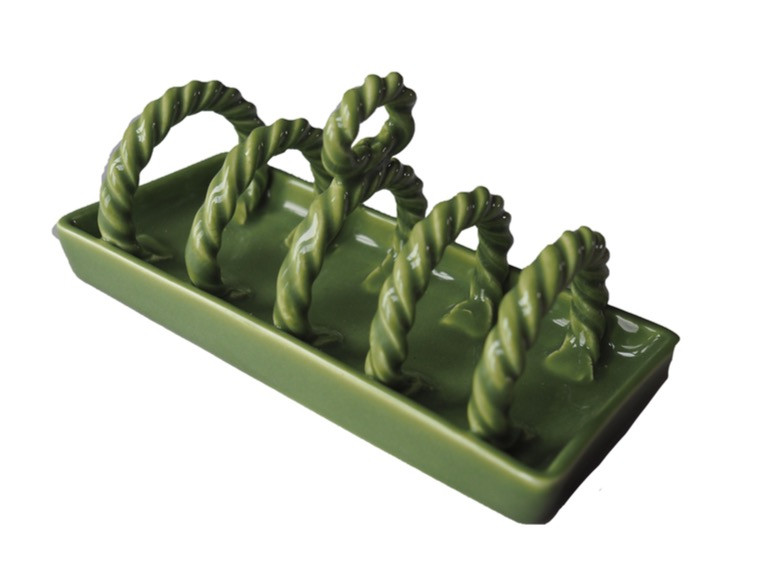 Ceramic toast rack, green