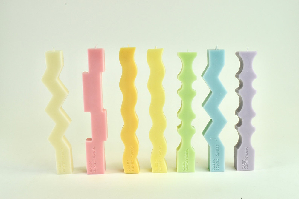 Colorful Pastel Zig Zag Candle