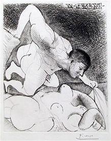 """Pablo Picasso """"Homme Devoilant Une Femme"""""""