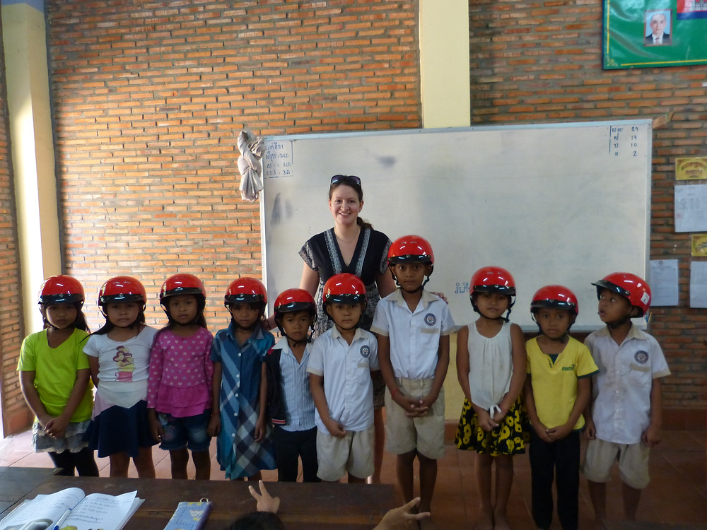 Grade 1 with their new helmets