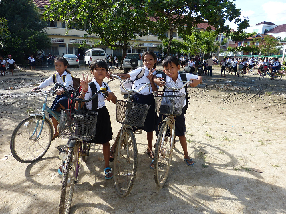 Students Cambodia Bicycle