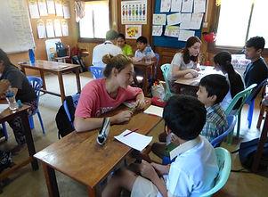 Volunteers teaching at Sovann Komar