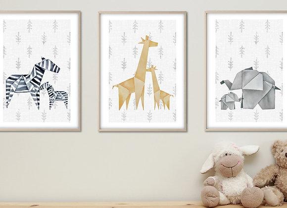 set 3 safari baby animals