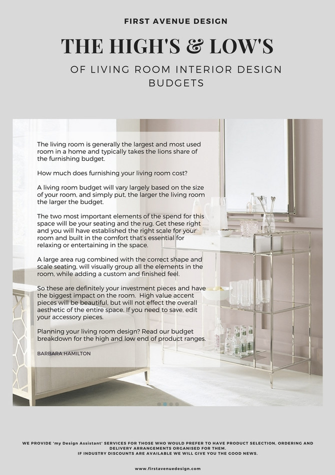 'The  High's and Low's of interior design room budgets. Blow by blow... we break it down