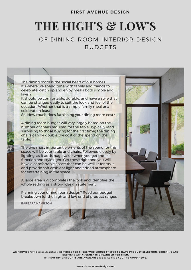 THE 'DINING ROOM' THE HIGH'S & LOW'S OF INTERIOR DESIGN ROOM BUDGET BREAKDOWN