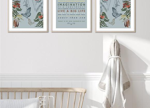 set 3 australian nursery print