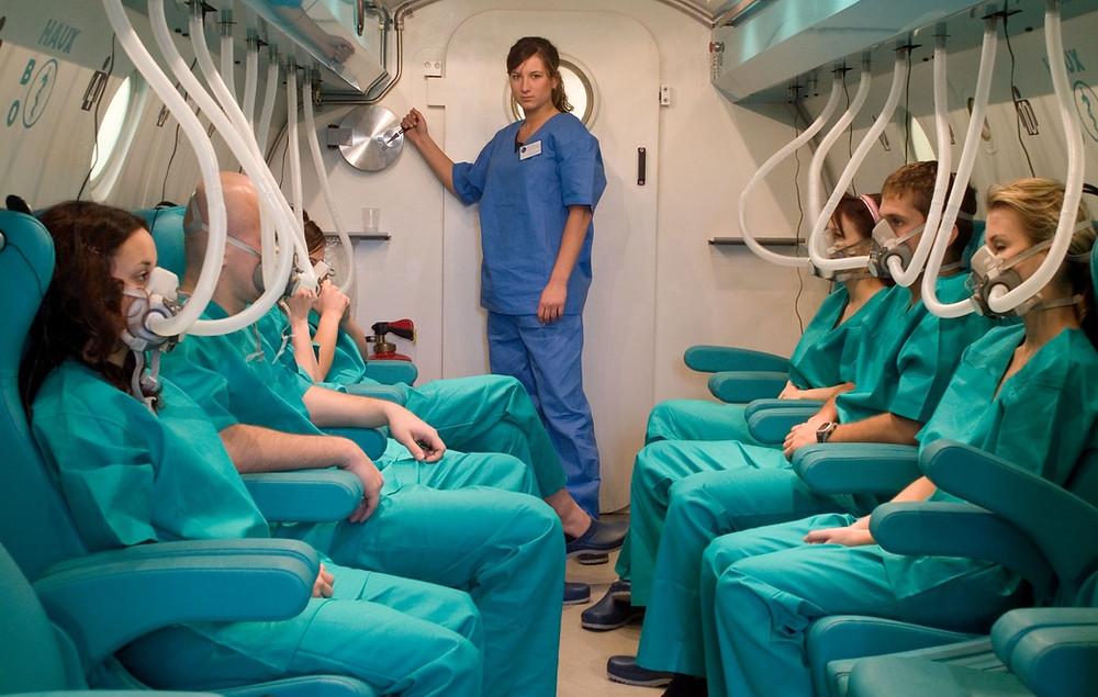 Patienten in der Druckkammer