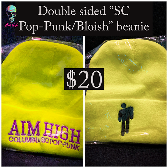 "NEON ""AIM HIGH SC POP-PUNK/BLOISH"" DOUBLE SIDED BEANIE *LIMITED EDITION/RUN"