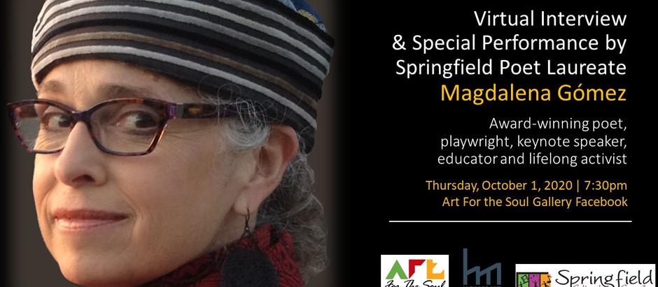 Virtual Interview & Special Performance by Springfield Poet Laureate Magdalena Gómez