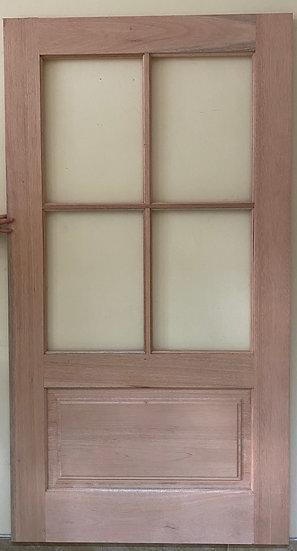 1 Panel 4 pane Glass top solid door