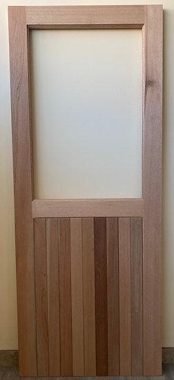 Vertically Slatted Bottom, Glass Top Door