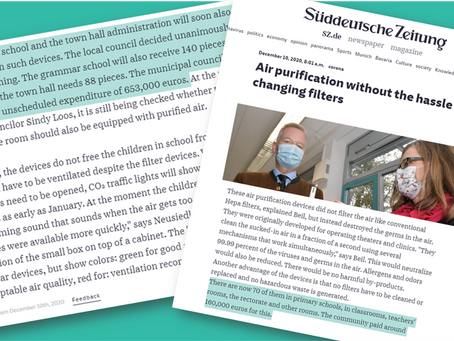 Süddeutsche Zeitung: Air purification without the hassle of changing filters