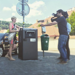 Tereza presenting the Bigbelly on Czech Television main evening news..