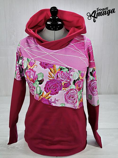 Hoodies Femme Floral Rose