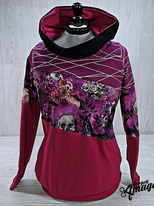Hoodie Femme Crâne papillon floral