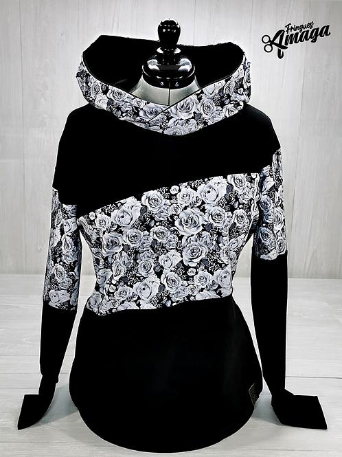 Hoodies Femme Fleur blanc et noir