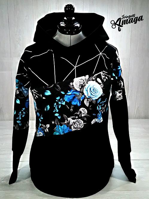 Hoodies Femme Fleur bleu