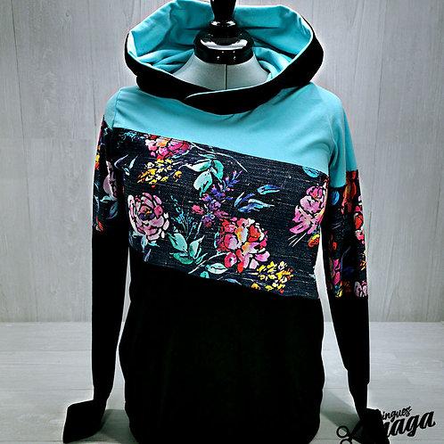 Hoodie Floral grunch bleu