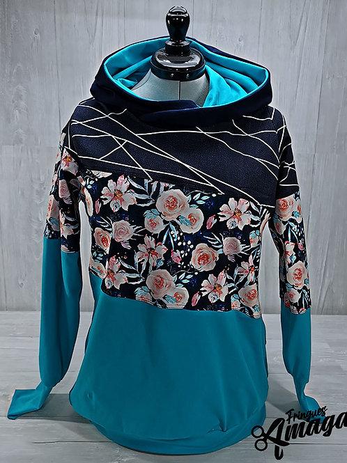 Hoodie femme floral bleuté