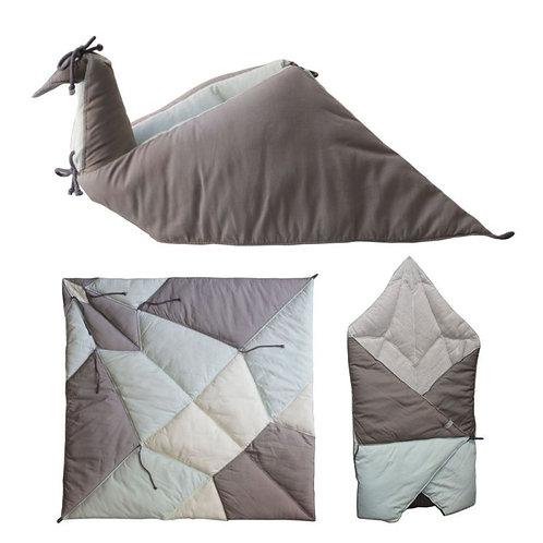 couverture origami/nid d'ange bleu coton bio FABELAB