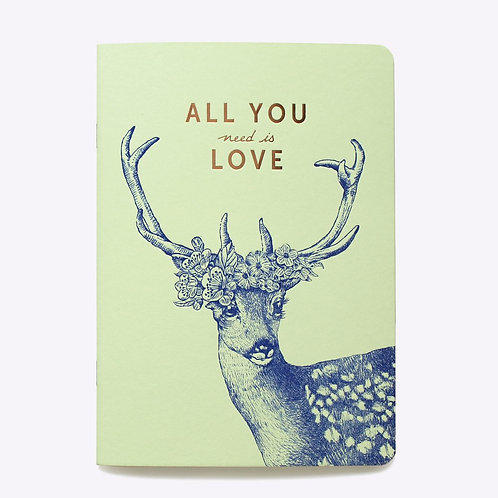 cahier ligné all you need is love LES EDITIONS DU PAON