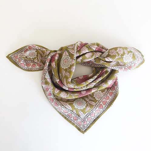 "foulard latika ""coeur"" moutarde APACHES"