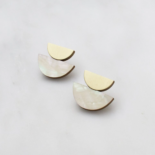 BO crescent studs mother of pearl WOLF & MOON