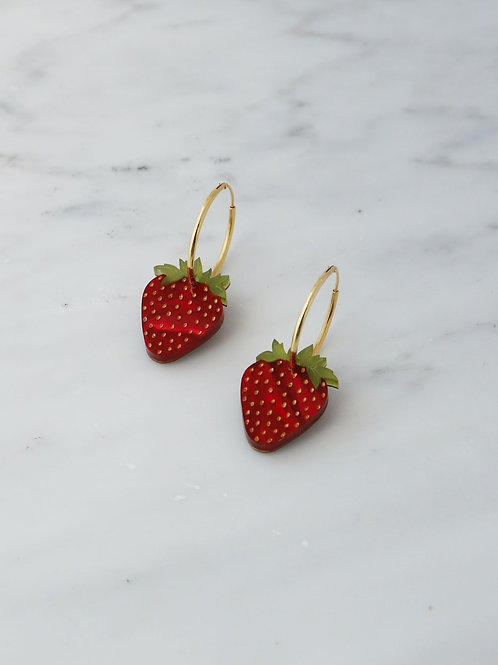 boucles d'oreille strawberry WOLF & MOON