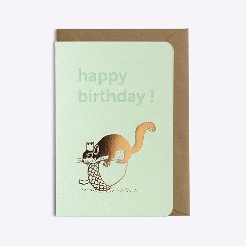 carte happy birthday squirrel LES EDITIONS DU PAON
