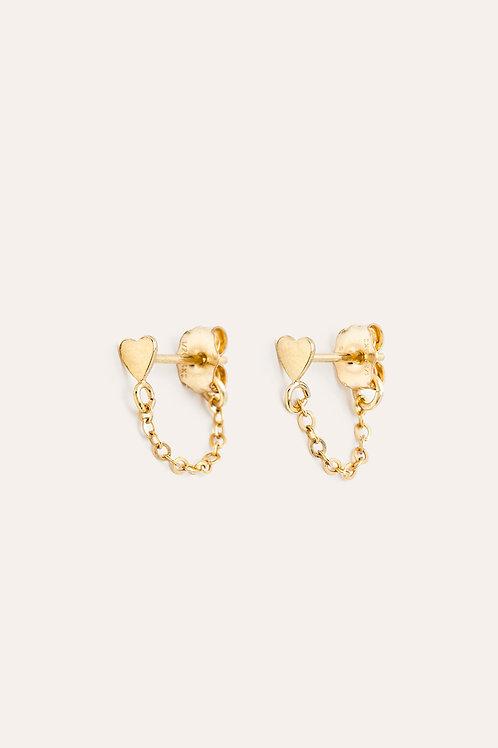 mini boucles d'oreilles chaînette cœur YAY