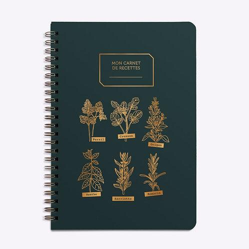 carnet de recettes vert sapin mes aromates LES EDITIONS DU PAON