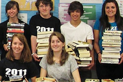 grant winner classroom students with books