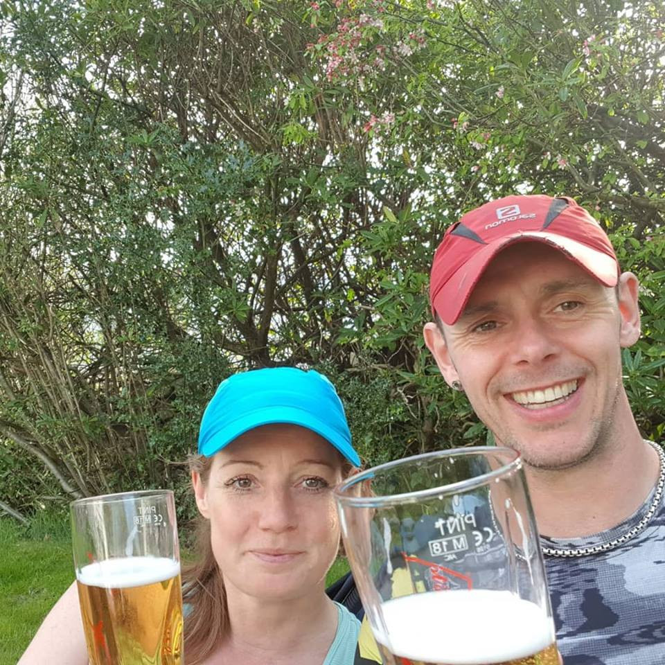 Enjoying a pint of cider after a hot days walking in the Lakes