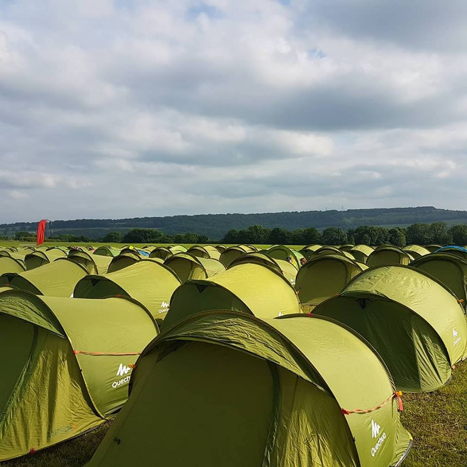 Camping halfway at 26 miles of the back to back marathons for Race to the Tower along the Cotswold Way ultra
