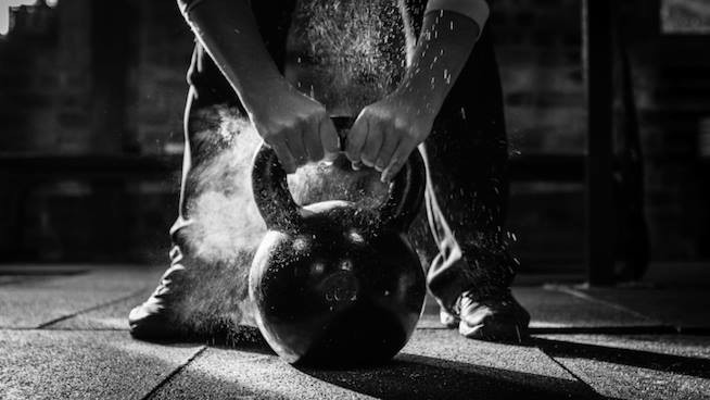 Kettlebell in black and white