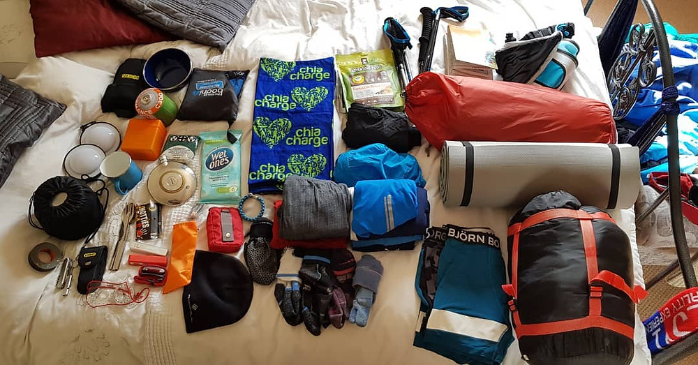 Hiking items laid out ready for packing for a recce of the Northern Traverse